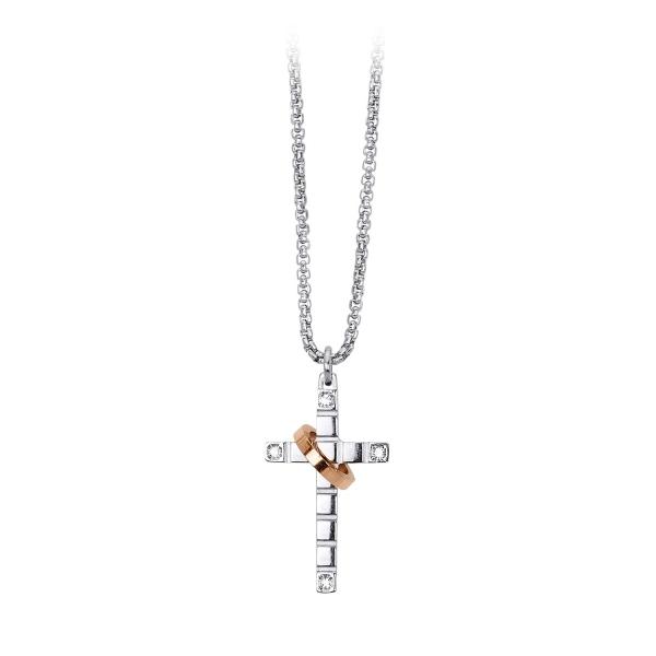 Gargantilla con cruz de acero 316L con anillo color Rosé y cristales, de la marca 2Jewels. 50 cm de largo.