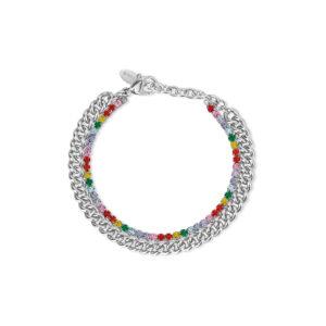 Pulsera de acero 316L con cristales de colores de la marca 2Jewels. De 19 cm de largo. ¡Dale vida a tus joyas con piedras y cristales de colores!