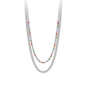 Collar doble de mujer de acero 316L con eslabones y cristales de colores de la marca 2Jewels. Las mejores joyas de Valencia en tu joyería online J. Berlanga. Encuentra tu joya perfecta