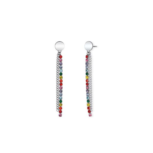 Vistosos y coloridos pendientes de mujer de acero 316L con cristales de colores de la marca 2Jewels.